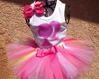 Girls Barbie Pink Yellow and White Tutu Set Great for Birthdays, Photo Props, Parties and Special Events