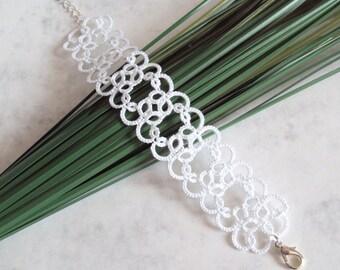 Wedding White Lace Bracelet in Tatting - Christina