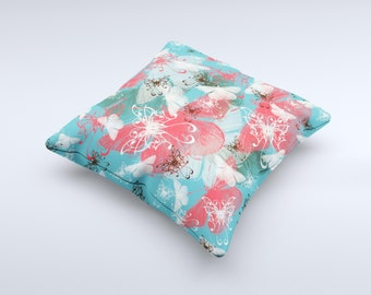 The Blue & Coral Abstract Butterfly Sprout ink-Fuzed Decorative Throw Pillow