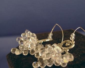Silver Heart Chandelier with Clear Briolettes Earrings