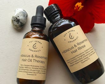 Hibiscus Rosemary Hair Therapy: Hot Oil & Rinse