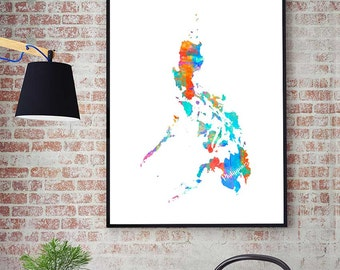 Philippines watercolor map art print 1579 philippines map philippines printable map philippines wall art decor watercolor map print philippines gift instant download asian map publicscrutiny Images