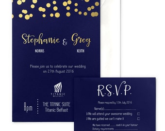 Navy and Gold Glitter Lights Wedding Invitation with envelope, gold-foiled, RSVP card optional
