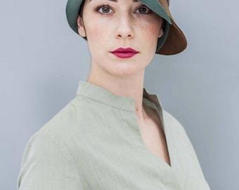 "felt hat, cloche, fur felt, vintage style, green, brown, winter hat, retro, 30ies style, ""FLO"""