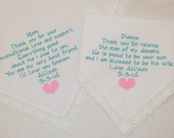 Mother of the Groom Mother of the Bride Embroidered Hankerchiefs Embroidered Wedding Handkerchiefs Personalized gifts Future Mother in law