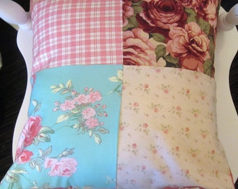 Decorative Throw Shabby Chic Pink and Roses 16 X 16 Designer Pillow Cover