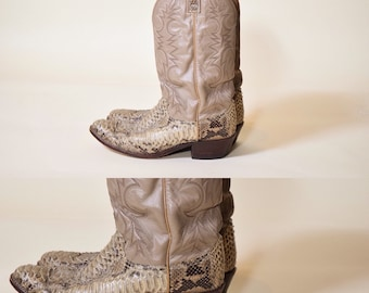 "Authentic vintage Dan Post gray leather + rattlesnake skin cowboy boots with 1.5"" heel men's size 10D"