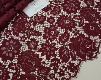 Burgundy lace fabric, France Lace, Embroidery lace, red lace, Wedding Lace, Evening dress lace, Lingerie Lace, Alencon Lace LL16001