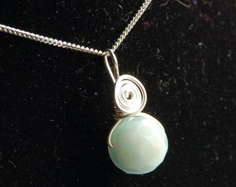 Genuine Amazonite Solid Sterling Silver Pendant Psychic Protection, Trust your Instincts, Gentle Energy, helpful at difficult times in life
