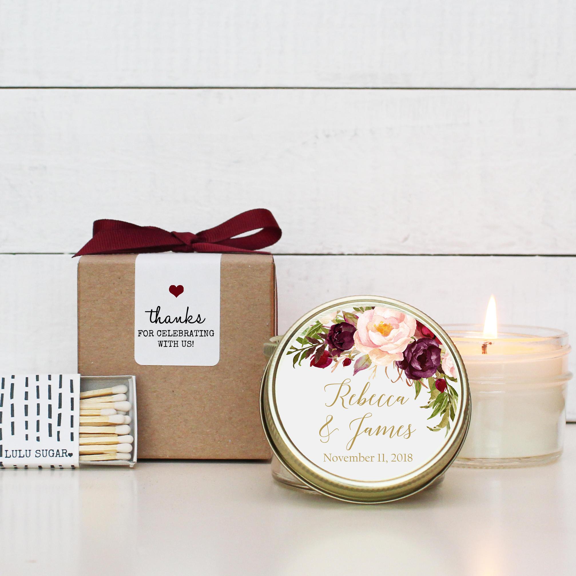 Set of 6 - 4 oz Soy Candle Wedding Favors   Marsala Floral Label ...