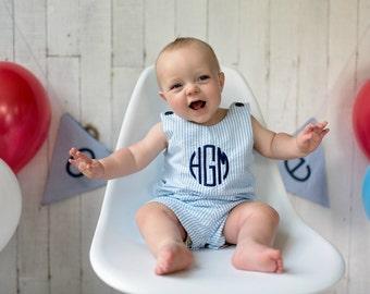 Boy Easter Outfit - Monogrammed Seersucker Shortall or Jon Jon - blue seersucker - free personalization