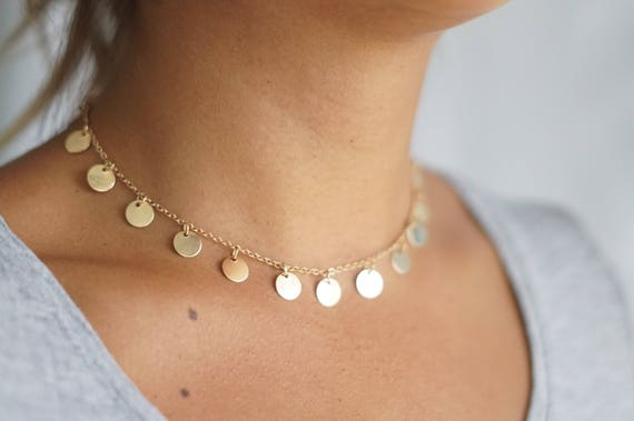 Well known Circle Tags Necklace Gold Coin Choker Necklace Mini Coin LL02