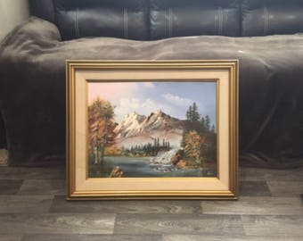 Vintage Mountain Landscape Acrylic Painting by Lloyd