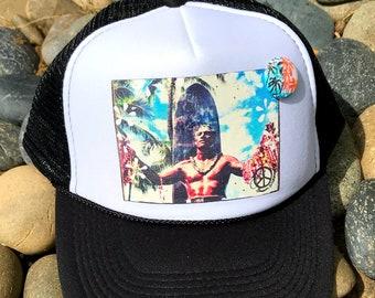 Trucker Hats, DUKE, Hawaii, limited ed., Beach, Waikiki, Luau, Surf, Summer, Fun, One Size Fits All, foam trucker hat, Surf, Best Seller