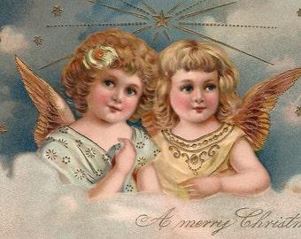 Antique Christmas angel postcard digital download printable instant image