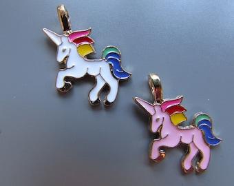 Unicorn charm pendant 2 colours to choose