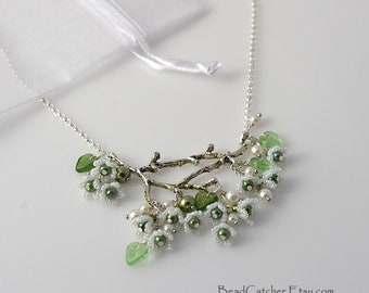 White flowers spring branch beadwoven necklace