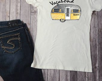 Vintage Camper Shirt, Happy Camper, Camping Shirt, Trailer Tee, Outdoors Shirt, Wanderlust Tee, Travel Shirt, Gypsy Tee, Country Festival