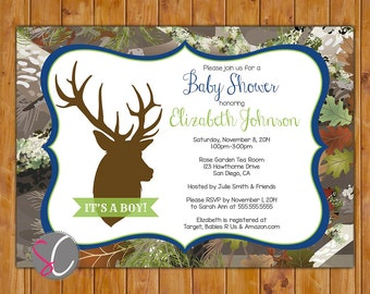 Buck Camo Invite Oak Camouflage Navy Lime Brown Boy Baby Shower Forest Woods Deer Silhouette Invitation Hunting 5x7 Digital JPG File (188)