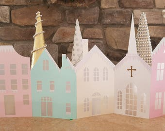 Pastel Christmas village fold up decoration for fireplace mantel, tabls.  Home decor for Christmas. Any color combination available.