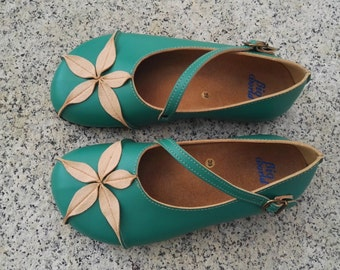 Sale 20% OFF, Vegan Leather Shoes,  Flat Shoes, Ballerina Shoes, Slip Ons, green shoes, OPHIURE GREEN esmeralda