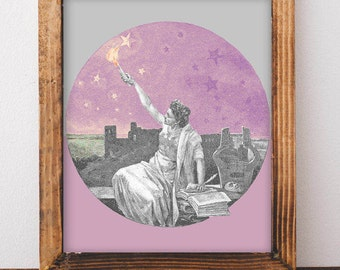 Lady in Space Art, Boho Art, Vintage Poster, Outer Space Art Print, Science Fiction, Moon and Stars Wall Art, Space Nursery, Vintage Decor