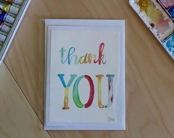 Thank You Colored Calligraphy- Notecards