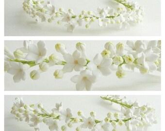 White Flower Crown, Wedding Bridal Flower Crown, White Floral Headpiece, Bridal Flower hair, white flower girl, baby flower crown, jasmine