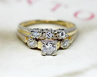 Superior Vintage Diamond Wedding Ring Set, Antique 1930s Engagement Ring Set, Three  Stone 14k Yellow Gold Bridal Set, Antique Wedding Band Set