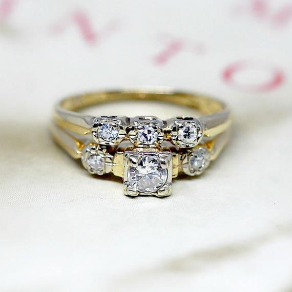 Vintage Diamond Wedding Ring Set Antique 1930s Engagement