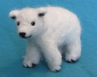 Felted Alpaca  Polar Bear Cub