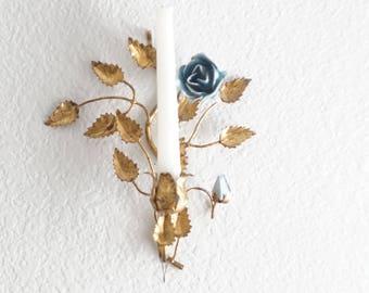 Antique Florentine Wall Sconce Candlestick Holder with Blue Rose Details