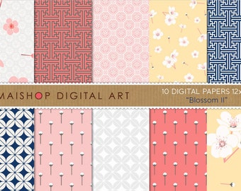 Digital Paper 'Blossom II' Floral, Geometric, Chinese Digital Download Images for Scrapbook, Invitations, Cards, Decoupage, Gift Tags...