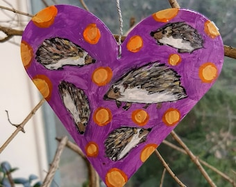 Painted Tin Animal Ornament: Hedgehogs