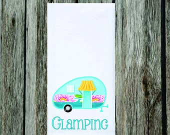 "Glamping Dish Towel, Flour Sack, 28""x28"", Camping, Vintage Camper, Camper, Fun Camping, Preppy Camper, Tea Towel"