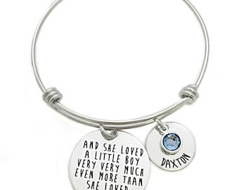 Personalized And She Loved A Little Boy Very Very Much Bracelet - Custom Jewelry - Bangle Bracelet - Mom Jewelry - Gift Mom - Mother - 1005