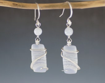 Blue Lace Agate Cold Forged Sterling Silver Earrings