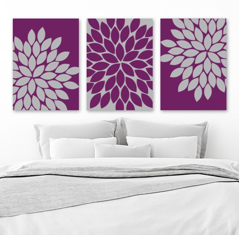 Purple Gray Wall Art Eggplant Bedroom Canvas Or Print Floral