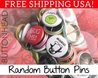"Random Buttons Pins Mix – 1"" Mini Bulk Resale Wholesale Loose Lot"