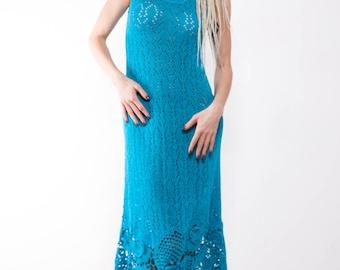 Crochet dress Crochet turquoise dress maxi sundress Crochet blue lacy sundress turquoise viscose Dress Crochet Beachwear dress evening gown