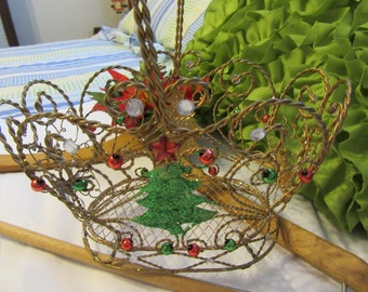 Basket Wire Christmas Blinged Out Gold Christmas Tree on Front Sides Reindeer on Sides Holiday Decor Christmas Decor Centerpiece Table Decor