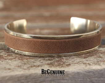 Mens Leather Cuff, Rustic Cuff Bracelets, Stainless Steel Bracelet, Boyfriend gift, Distressed Leather, Leather Anniversary gift