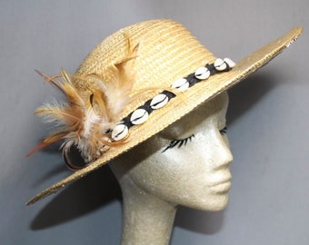 Straw Sea Shell Band VINTAGE HAT