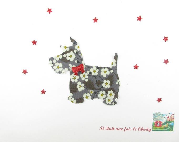 Coat liberty iron on patch applied fusible dog scottish liberty Mitsi gray fabric and glitter flex, iron on liberty fabrics