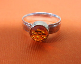 Citrine Ring - Rose Cut Citrine Ring - Handcrafted Sterling Silver & Citrine Ring - Size 8 1/2 - 8 3/4