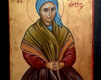 original icon.Saint Bernadette.hand painted catholic icon st.bernadette.byzantine greek religious art.christian catholic icon,16x20cm