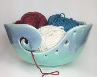 Knitting Bowl, Ceramic Yarn Bowl, Crochet Bowl, Large Yarn Holder, Clay Yarn Organizer, Pottery Yarn Bowl, Gifts for Knitters, MADE TO ORDER