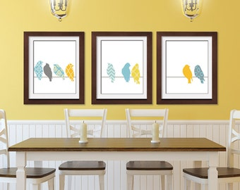 Vintage Patterned Birds on a Wire B - Set of 3 ART PRINTS (Featured in Assorted Colors) Customize your own colors