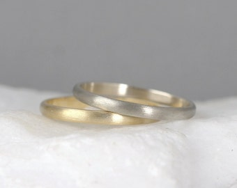 2mm 14K Gold Wedding Band – Men's or Ladies Wedding Rings – Matte Finish – Yellow or White Gold – Commitment Rings – Classic Rounded Bands