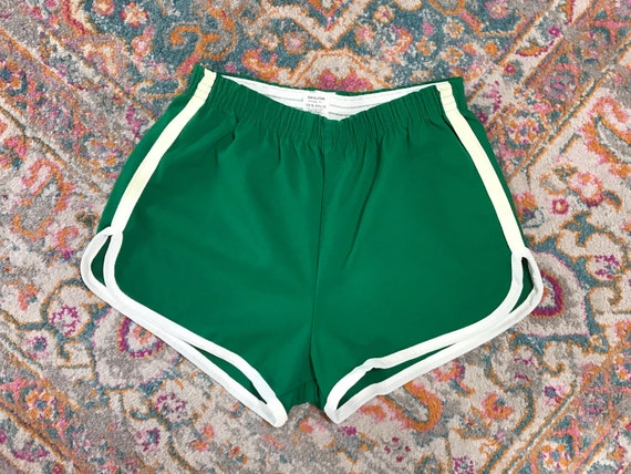 Green 70s High Waisted Track Shorts kelly green and white jogging running 1970s true vintage basketball gym shorts striped retro unisex 60s trwPmh7